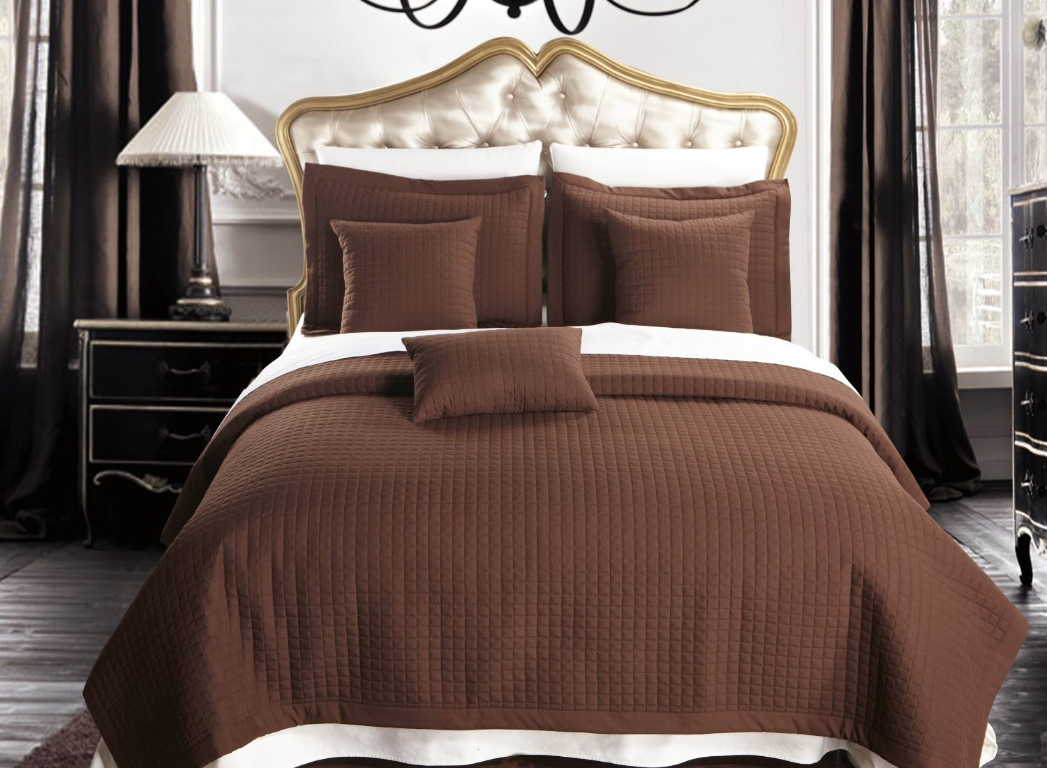 King / California-King size Chocolate Coverlet 3pc set