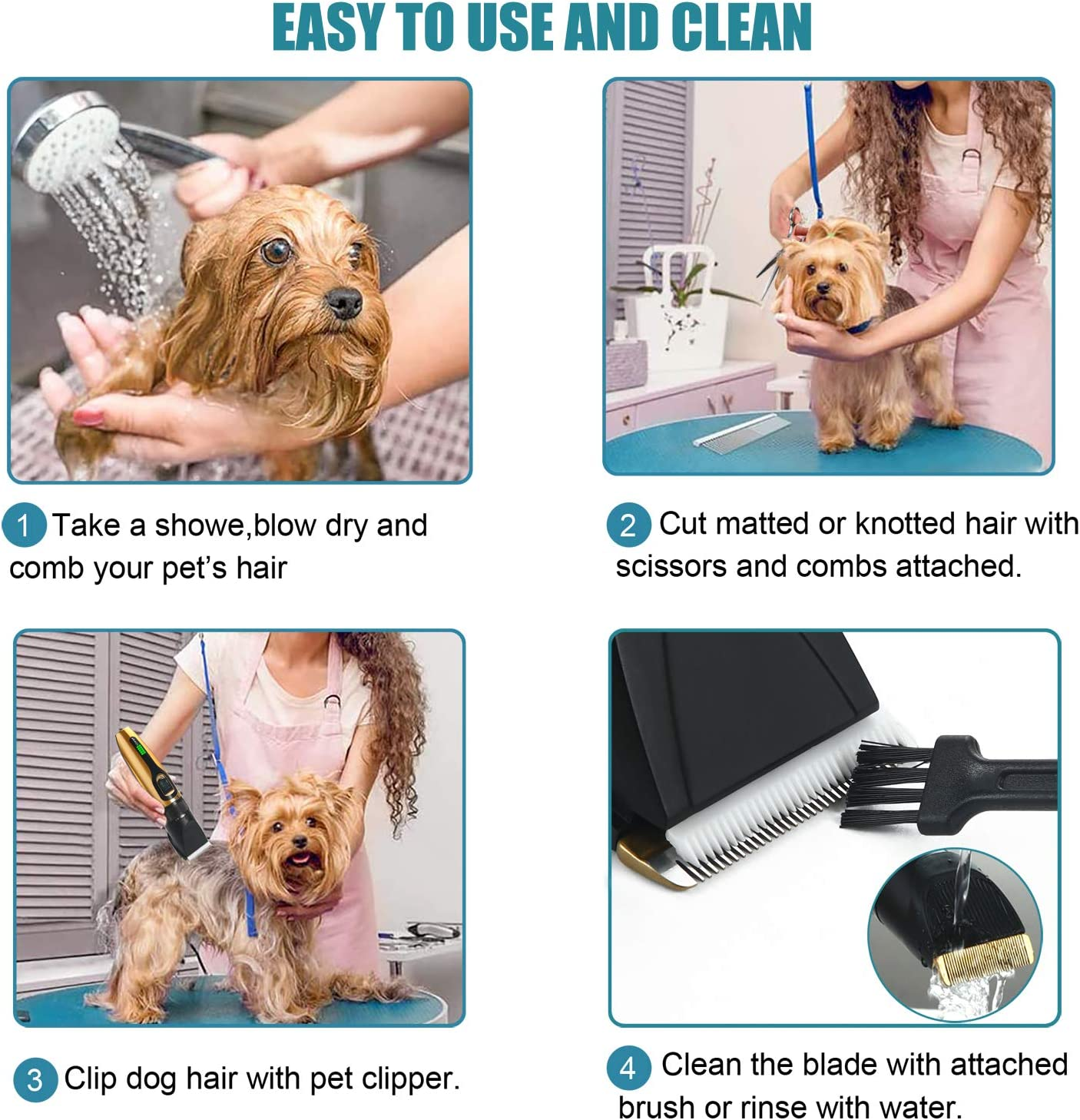 Professional Electric Pet Clipper with LED Display 5-Speed Low Noise Rechargeable Cordless Pet Hair Trimmer for Small Medium Large Dogs /& Cats Dog Shaver Clippers Grooming Kit