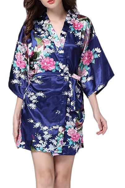 Yacun Kimono Batas Pijamas Seda Satén Estilo Corto de Las Mujeres Navy S: Amazon.es: Ropa y accesorios