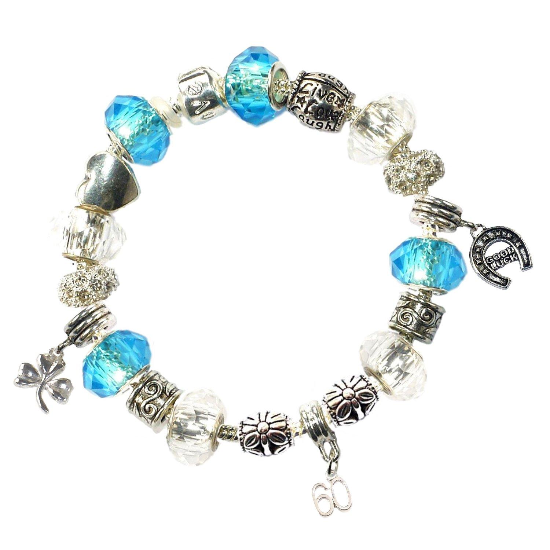 9c3bcbba2 Amazon.com: Charm Buddy 60th Birthday Good Luck Lucky Blue Silver Pandora  Style Bracelet With Charms Gift Box Jewelry: Jewelry
