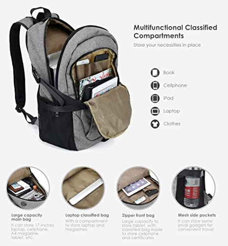 Amazon.com: AMZ WHOLESALE | Canvas Backpack with USB Charging Port for Men & Women | Casual Durable Travel Backpack Fits up to 15.6 inch Laptop (Gray): ...