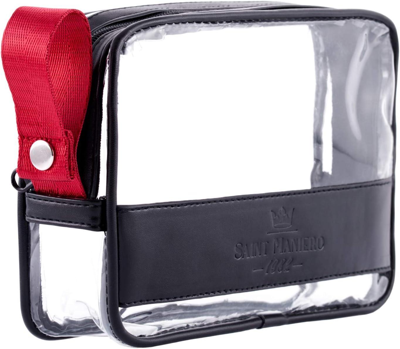Saint Maniero Bolsa cosméticos Transparente I Neceser Transparente con Cremallera I Bolsa de Aseo 1 litro I Bolsa de Viaje Aprobado por la TSA I Organizador de Viaje Transparente
