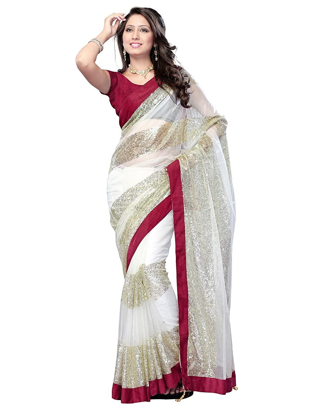 Lookslady Women's Designer Party Wear Embroidered Brasso Saree Sari Blouse Webdeal Services