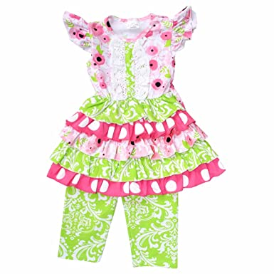 3b3db7f125c62 Unique Baby Girls Layered Ruffle Summer Boutique Outfit