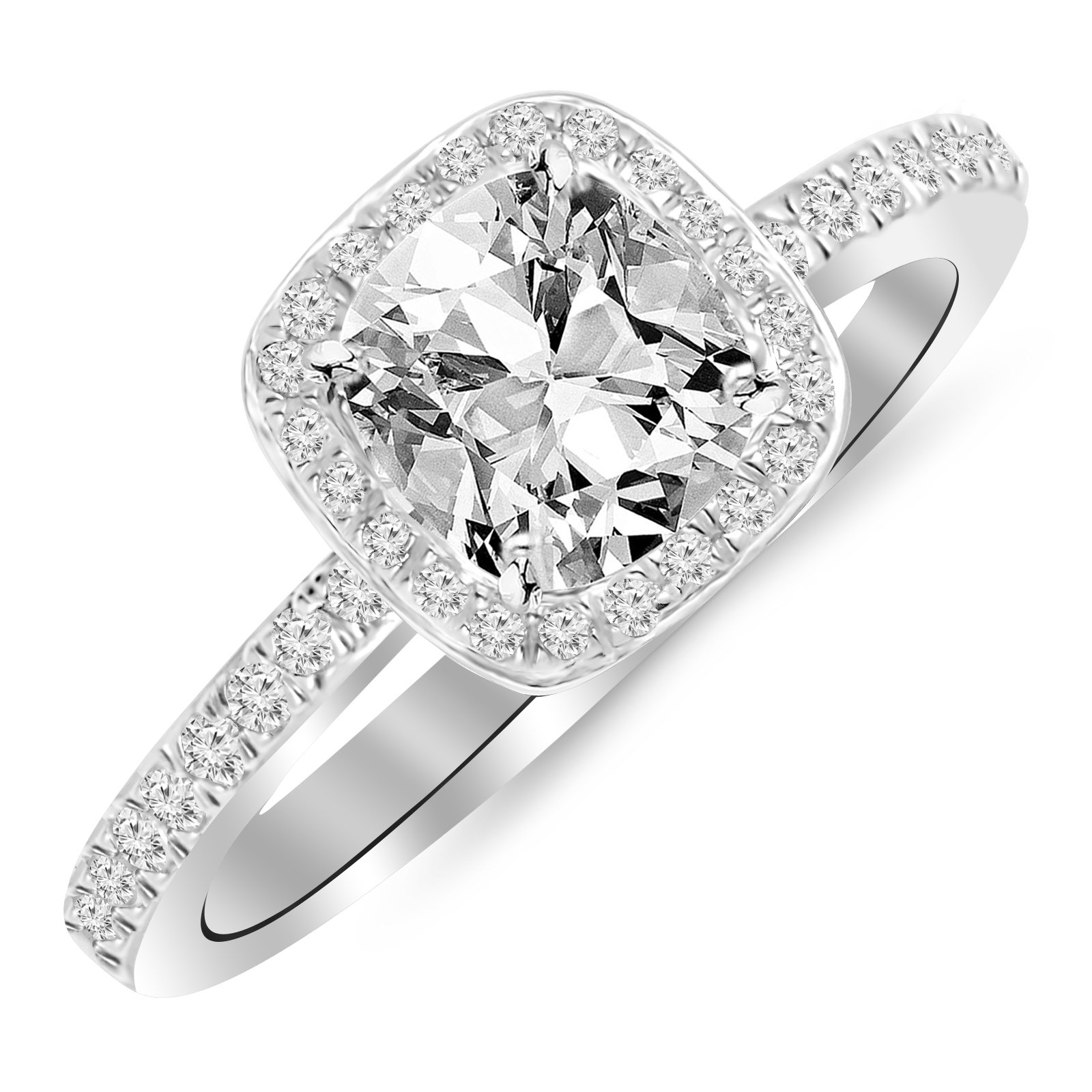 1 Carat t.w. 14K White Gold Classic Halo Style Cushion Shape Diamond Engagement Ring with a 3/4 Ct Forever Brilliant Cushion Moissanite Center (White-Gold, 9)