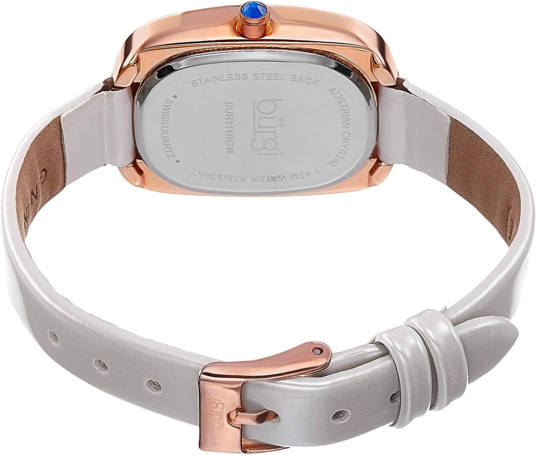 Burgi Women's Rectangular Swarovski Crystal Watch - 2 Diamond Adorn The 12 Hour On Slim Leather Strap Watch - BUR111 Winter White