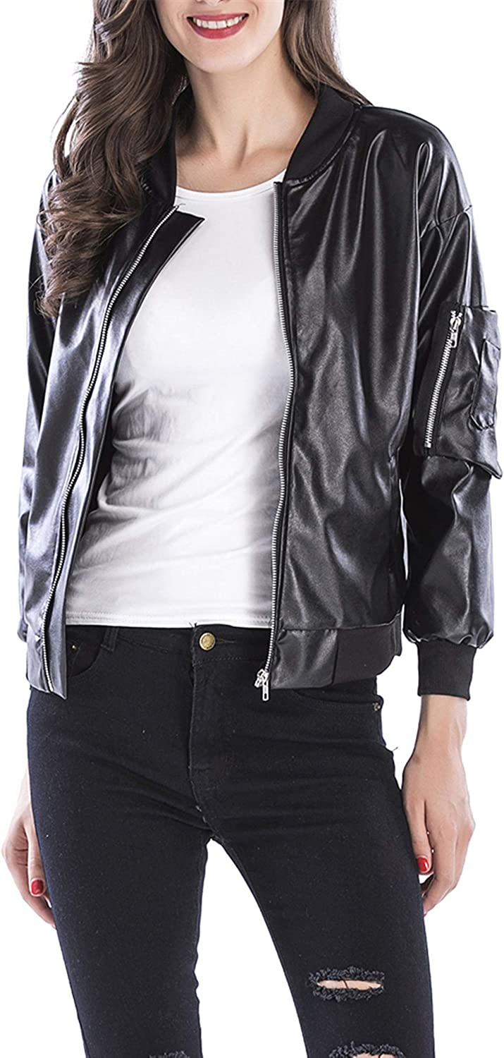 Uhnice Women/'s Faux Leather Jacket Zipper Causal Short Coat Jacket
