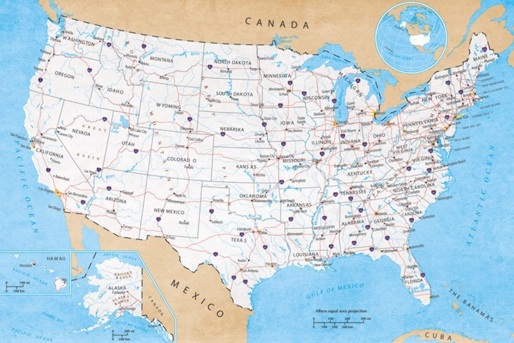 Pyramid America Map of United States USA Roads Highways Interstate System Travel Decorative Classroom Cool Wall Decor Art Print Poster 36x24