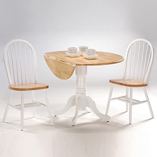 International Concepts 3-Piece 42-Inch Dual Drop Leaf Pedestal Table with 2 Windsor Chairs, White Natural Finish