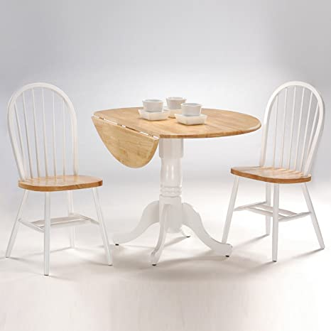 Outstanding International Concepts 3 Piece 42 Inch Dual Drop Leaf Pedestal Table With 2 Windsor Chairs White Natural Finish Cjindustries Chair Design For Home Cjindustriesco