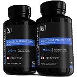 Taurato de Magnesio con Vitamina B6 y Extracto de Pimienta Negra para Absorción - 250 mg - Hecho en el RU, en…