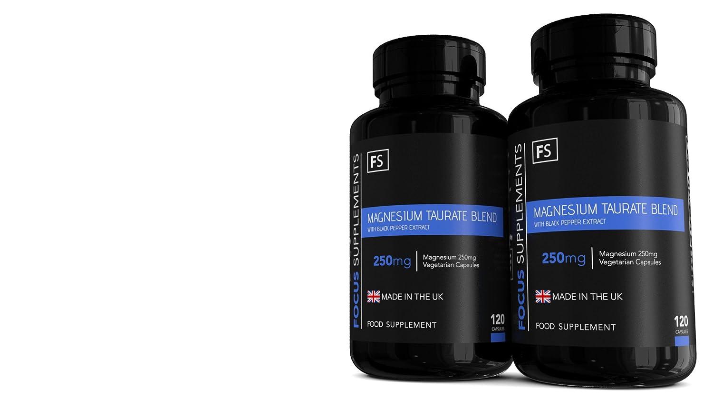 Taurato de Magnesio con Vitamina B6 y Extracto de Pimienta Negra para Absorción - 250 mg - Hecho en el RU, en Instalaciones con Licencia ISO - Garantía de ...