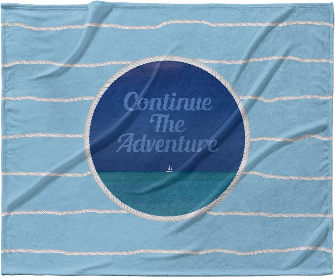 KESS InHouse Deepti Munshaw 'Continue The Adventure' Blue Aqua Fleece Baby Blanket, 40' x 30'