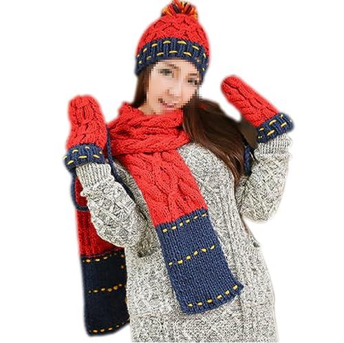Conjunto De Bufanda Y Sombrero De Invierno Para Mujer 3,Blue-OneSize