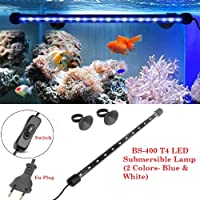 DESPACITO® High Class T4 Led Submersible Lamp Light for Aquarium Fish Tank Suitable for Fresh and Salt Water(Blue+White, BS-400)