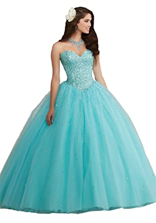 Mollybridal Sweetheart Tulle Rhinestones Ball Gown Quinceanera Dresses Long 2018 Aqua 2
