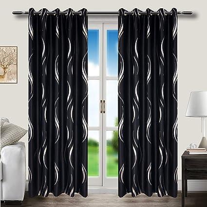 MYRU Grommet Top Black and Silver Blackout Curtains for Living Room Bedroom  (2 Panels 54\