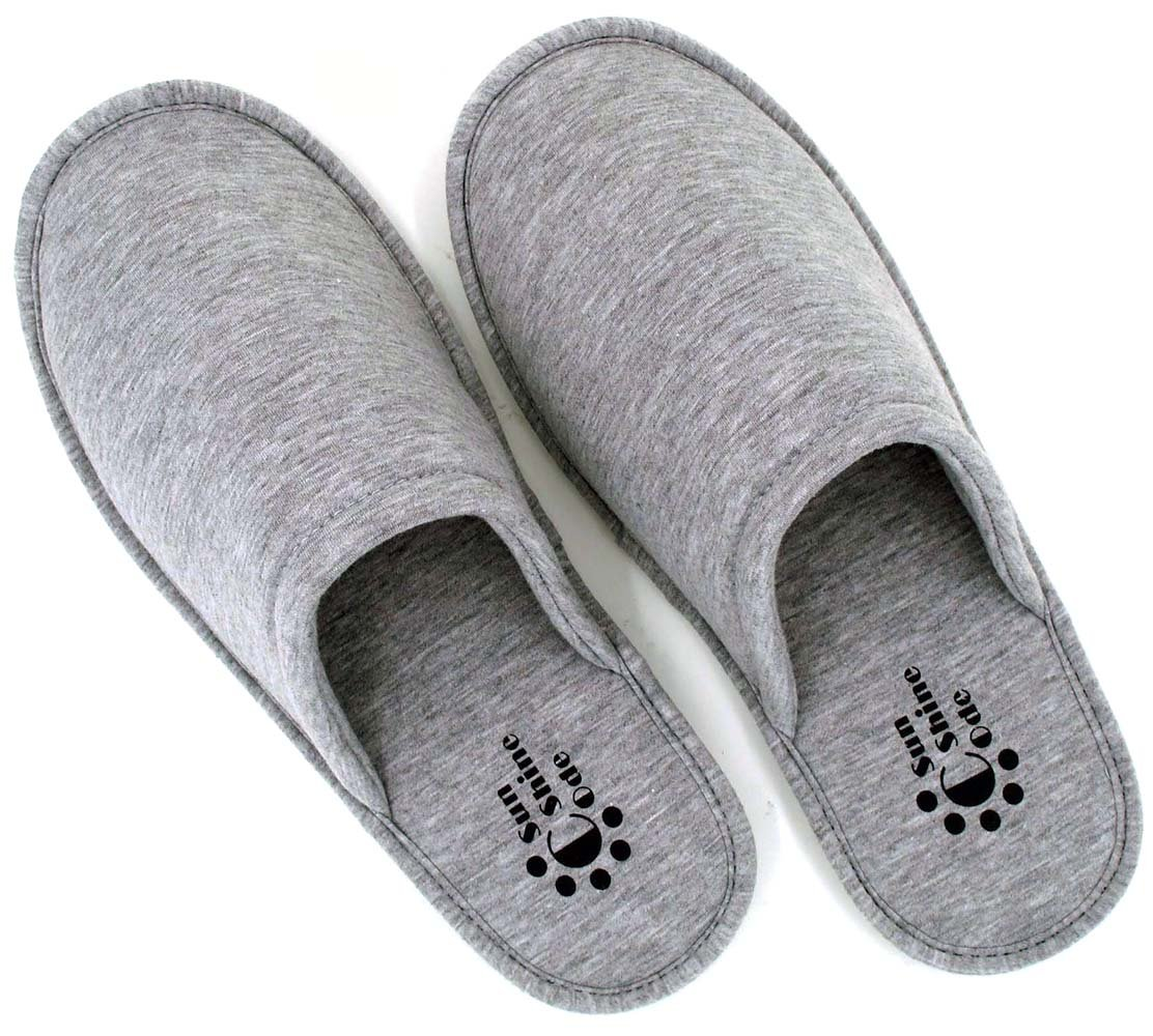 Sunshine Code Women's Memory Foam Cotton Washable Slippers with Matching Travel Bag for Home Hotel Spa Bedroom, M, Grey