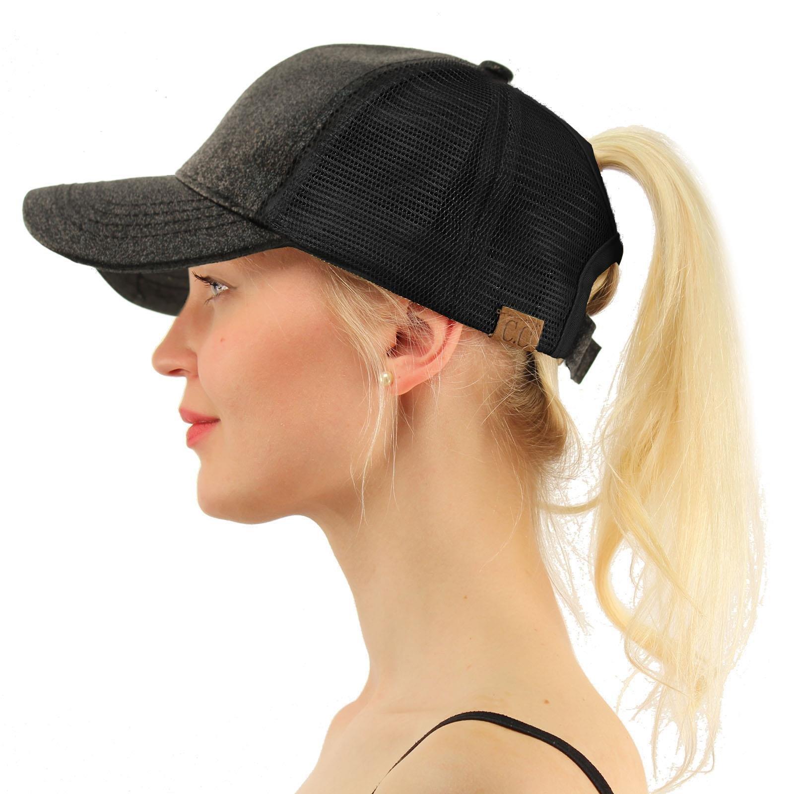 C.C Ponytail Messy Buns Trucker Ponycaps Plain Baseball Visor Cap Dad Hat Glitter Black