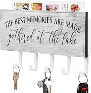 Lake House Key Holder for Wall, The Best Memories are Made at The Lake Mail Holder and Key Rack for Entryway, Farmhouse Home Decor Key Hooks, Rustic Key Hangers with 5 Hooks