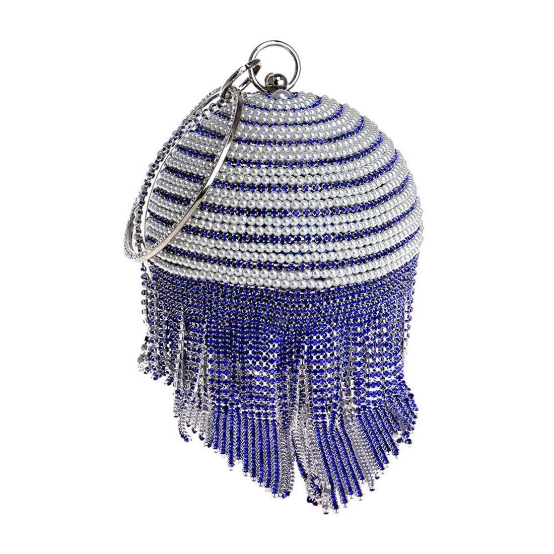MALLTY Frauen Ball Muster Bohrer mit Perlen Clutch Clutch Clutch Bag Lange Quaste Damen Abendtasche für Braut Hochzeit Cocktail Handtasche Prom Bag (Farbe   Blau) B07PCPDX3G Clutches Fett und dünn c5d3b7