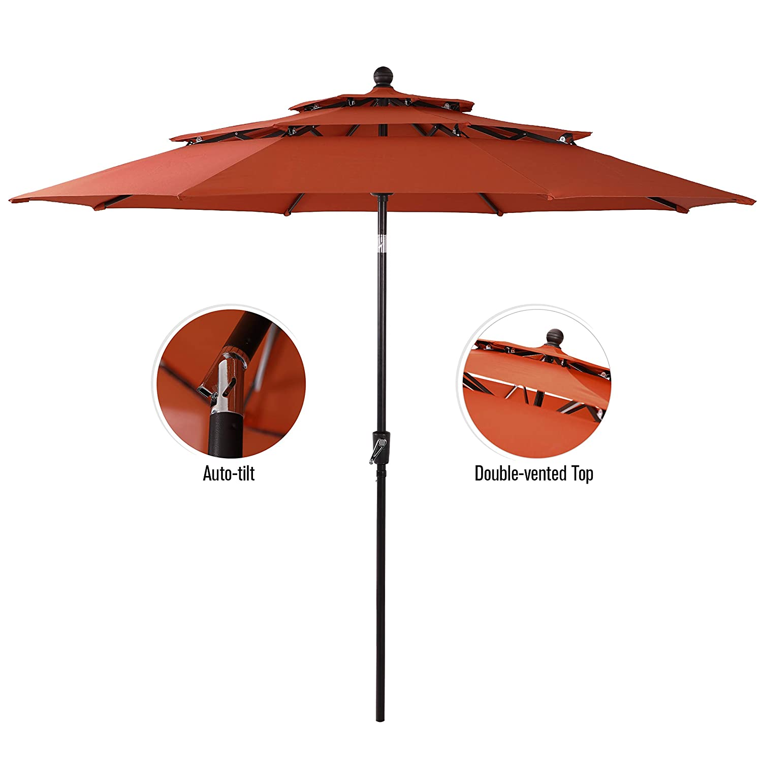 PHI VILLA 10ft 3 Tier Auto-tilt Patio Umbrella Outdoor Double Vented Umbrella, Orange Red