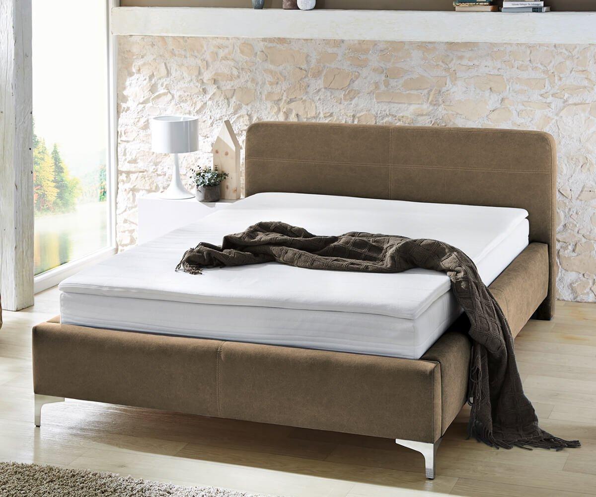 bett magdalina braun 140x200 cm vintage inklusive topper. Black Bedroom Furniture Sets. Home Design Ideas