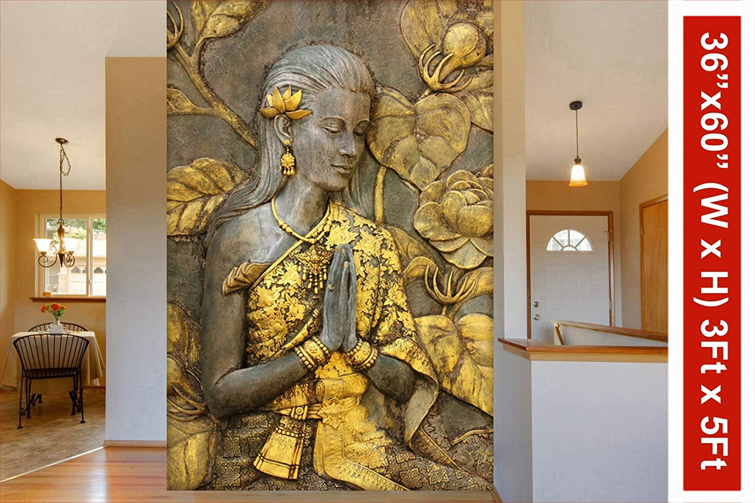 999store 3d Golden Flowers And Praying Hands Sitting Lady Mural Wallpaper Non Wooven 2x3 Feet Golden
