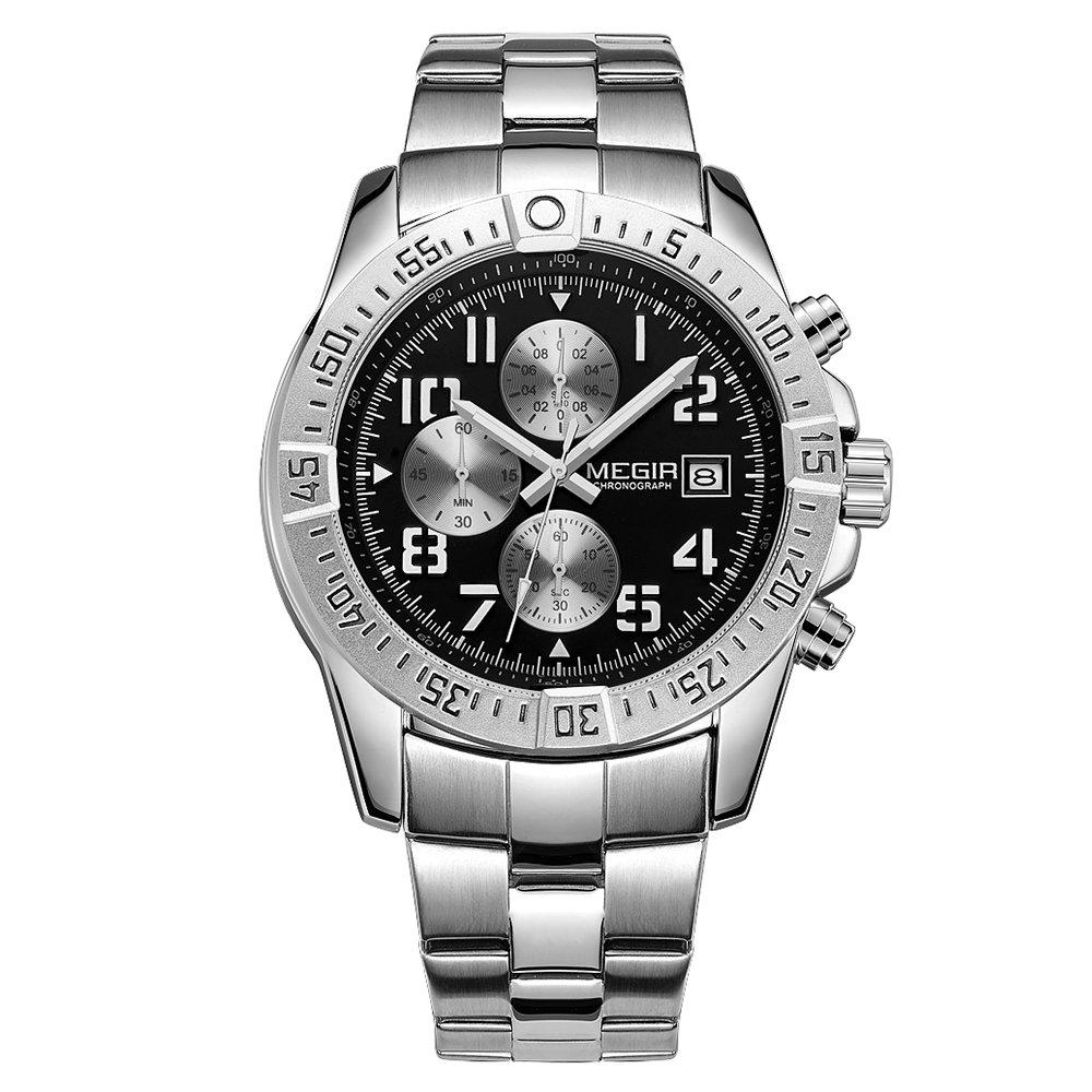 Realke Women's Luxury Steel Band Movement Quartz Analog Calendar Chronograph Waterproof Wrist Watch (B)