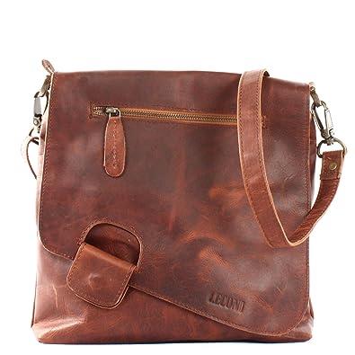 b51a732ec5e2a3 LECONI Umhängetasche Damen-Tasche Crossbag Rinds-Leder Natur Schultertasche  Vintage-Look Ledertasche Frauen