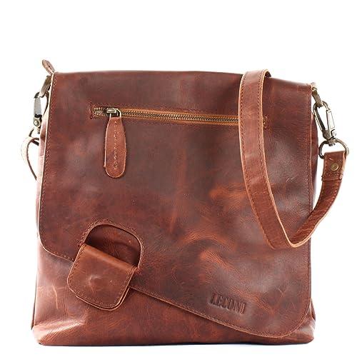 274922908c011 LECONI Umhängetasche Damen-Tasche Crossbag Rinds-Leder Natur Schultertasche  Vintage-Look Ledertasche Frauen