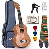 Soprano Ukulele 21 Inch Ukelele Mahogany Ukele for Beginer with Uke Gig Bag Strap String Capo Picks