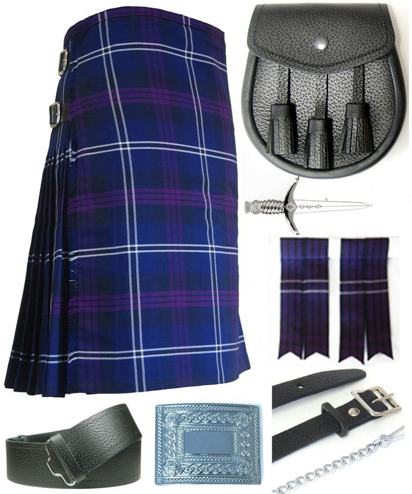 Mens Heritage of Scotland Tartan 7 Piece Casual Kilt Outfit Size: 30'' - 32''