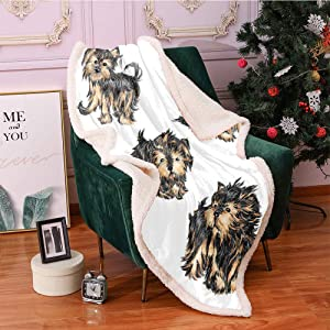 Yorkie Sherpa Fleece Blanket,Hand Drawn Yorkies Realistic Yorkshire Terrier Images Dog Love Cartoon Digital Printing Blanket,Degrees of Comfort Weighted Fuzzy Blanket(50x60 Inches,Black Cream)