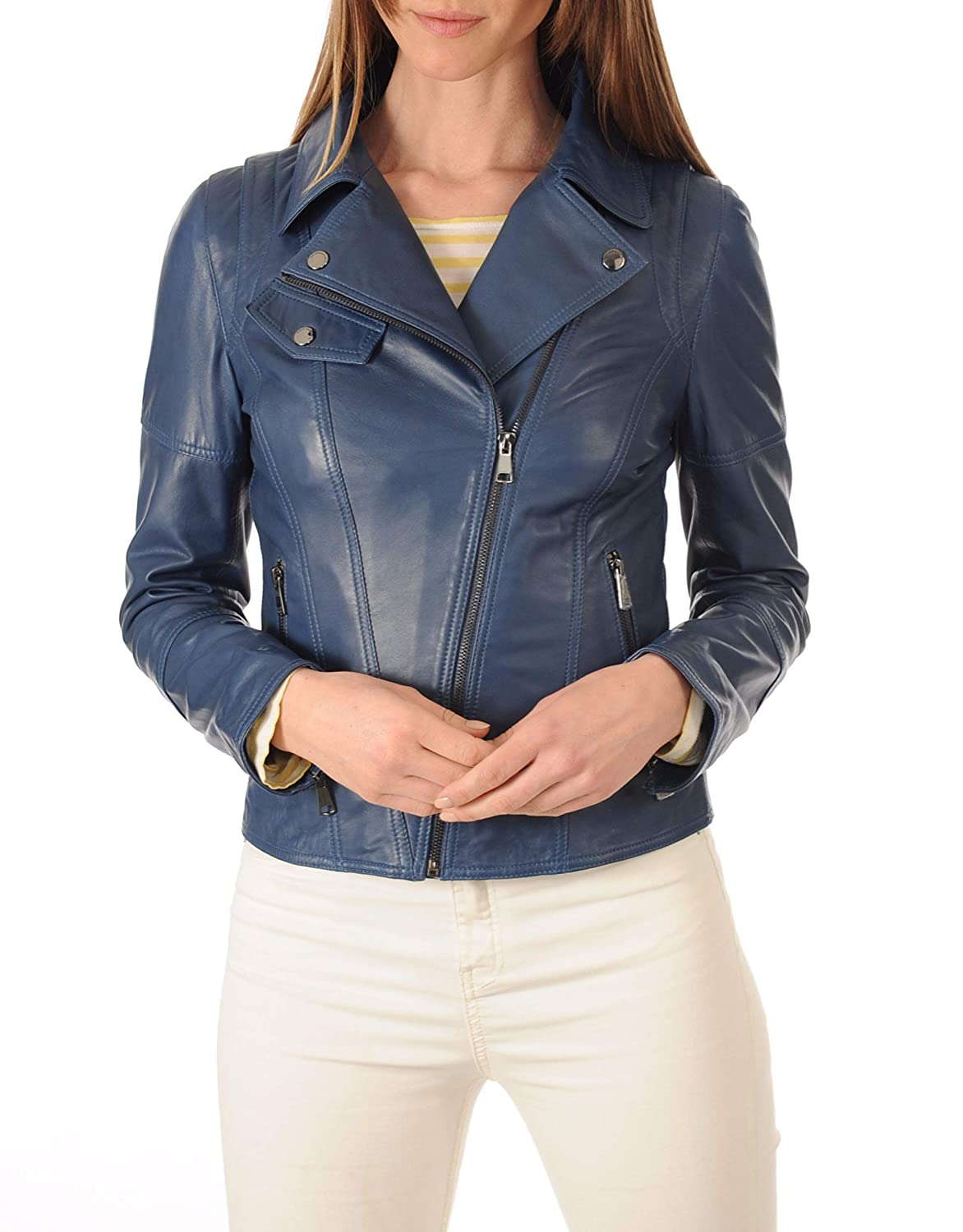 bluees1 DOLBERG CREATIONS Sheepskin Leather Jacket for Womens