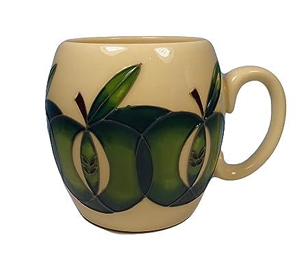 Moorcroft Pottery Green APPLES Design Barrel Shaped Mug 1st Quality RRP £95