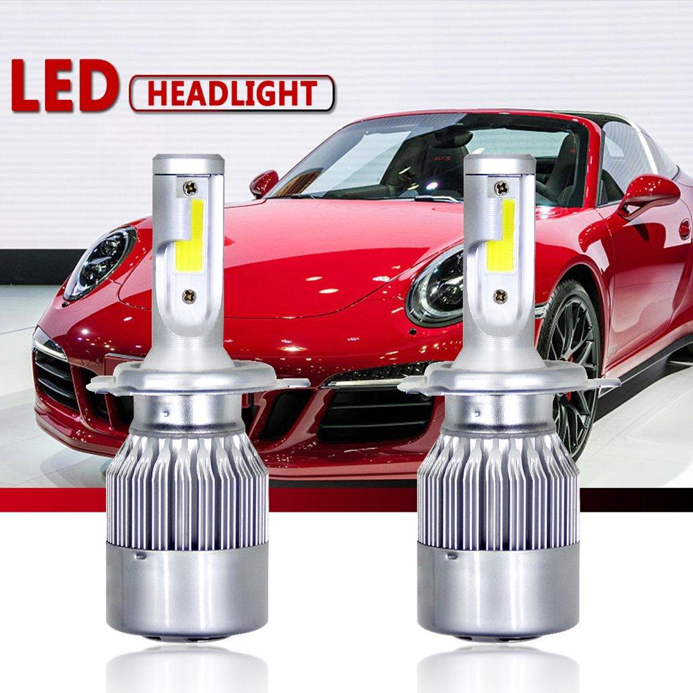 Etbotu 1 Pair H4 C6 COB LED Headlight Kit 3800LM/Bulb 6000K Beam Car Lamp Bulb HID White