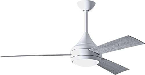 Matthews DA-WH-BW Donaire 316 Marine Grade Stainless Salt Water Rated Indoor Outdoor 52 Ceiling Fan with LED Light and Remote for Coastal Oceanfront, Gloss White