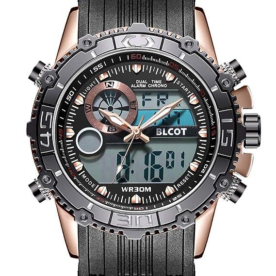 blcot de los hombres del deporte del reloj resistente al agua multifunción reloj Digital muñeca relojes negro banda de silicona Big Face: Amazon.es: Relojes