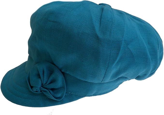 Leinen Ballonmütze Damen Sommermütze Schirmmütze mit Baumwollfutter rollbar