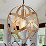 Q&S Industrial Metal Pendant Light ,Gold Spherical Cage Hanging Light,Farmhouse Chandelier Ceiling Light Fixtures for Kitchen