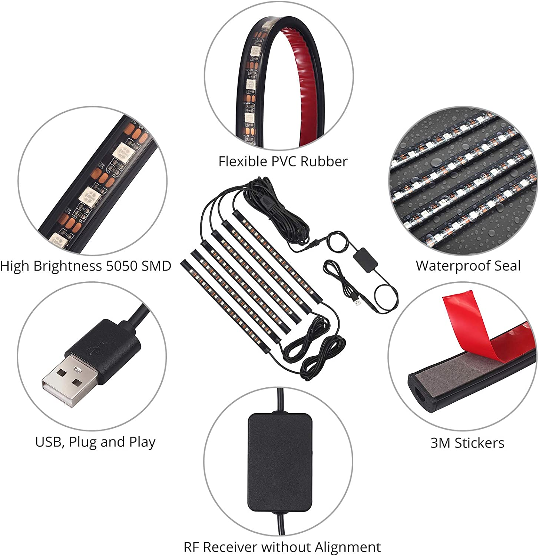 Justech Striscia LED per Interni Auto 72 LED con Controllo della Musica LED RGB Auto Interni con 6 Barre X12 LED Colorati Alimentato da USB Controller RF per Atmosfera Decorazione