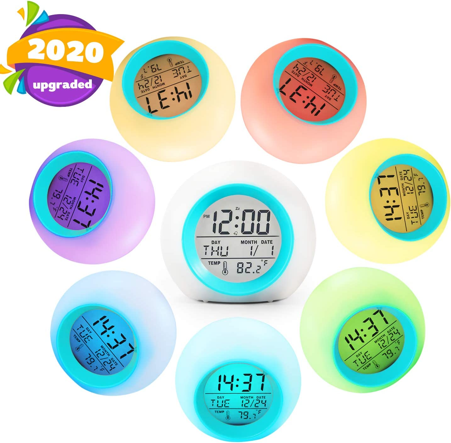 Childrens Sleep Trainer 7 Color Wake Up Light & Night Light V 2.0 ...