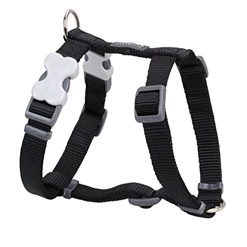 Red Dingo Plain Black Dog Harness 20mm x (Neck: 36-59cm / Body 45-66cm)