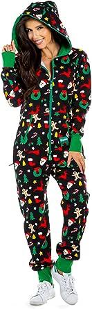 Women's Black Holiday Cookie Cutter Adult Jumpsuit - Christmas Onesie Pajamas