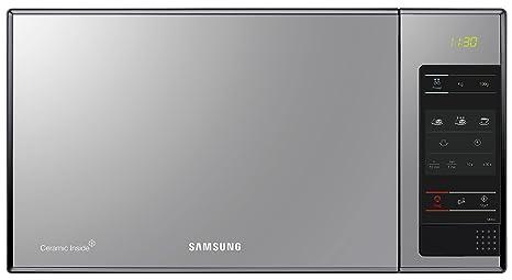 Samsung ME83X/XEC - Microondas sin grill, 800 W, 23 litros, 6 niveles de potencia, interior cerámico para mayor facilidad en la limpieza, Color Negro