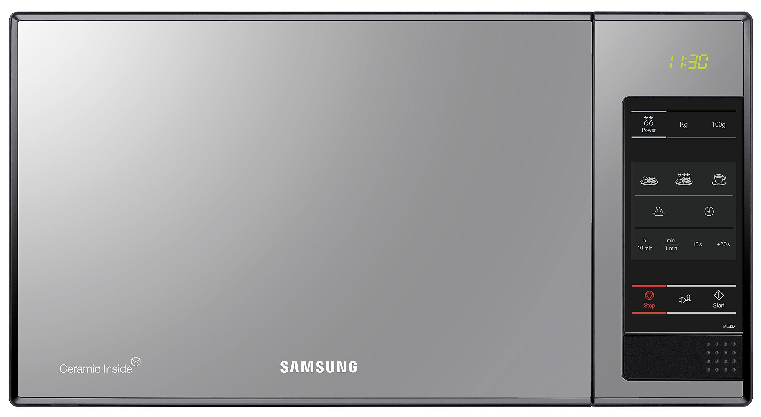 Samsung ME83X - Microondas sin grill, 23 litros, 800 W, 6 niveles de potencia, interior cerámico para mayor facilidad en la limpieza, color acero espejo product image