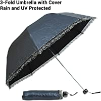 TIED RIBBONS Unisex Stylish Windproof 3 Fold Umbrella with Cover for Rain, Sun & UV Rays Protection