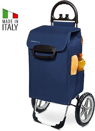 78 l avec 7 poches lat/érales Kiley Chariot de courses XXL en bleu avec grandes roues Chariot pliable jusqu/à 50 kg