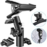 Neewer Photo Studio Heavy Duty Metal Clamp Holder and Cold Shoe Adapter for Clamping Reflector or Mounting Speedlite Flash and Umbrella on Light Stand